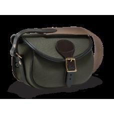 Croots Rosedale Canvas bavlněná kožená nábojová taška na 100 nábojů - Loden Green + Dark Leather